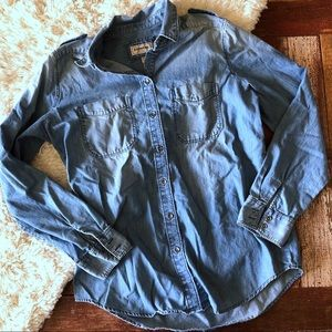 Express | Boyfriend Fit Chambray Button Down Shirt